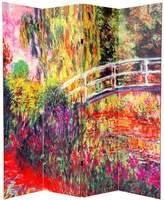 Oriental Furniture 6-Feet Monet Paintings Art Prints Room Dividers, Papavaris and Bridges Japonais at Giverny,s