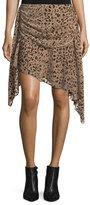 Haute Hippie Edith Leopard-Devoré; Draped Skirt