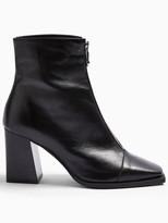 Topshop Zip Front Ankle Boots - Black
