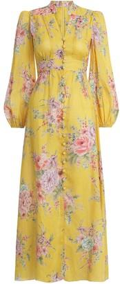 Zimmermann Zinnia Button Front Long Dress in Golden Floral