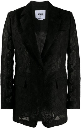 MSGM single breasted floral lace blazer