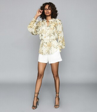 Reiss Alandra Print - Floral Printed Ruffled Top in Ivory