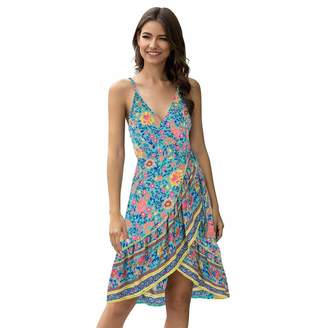 Moyabo Womes Sexy V Neck Spaghetti Strap Bohemian Floral Print Swing A Line Beach Mini Dress Red Medium