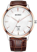 BUREI Men's Thin Dress Watches with Rose Gold Hand White Dial Sapphire Crystal Brown Leather Strap