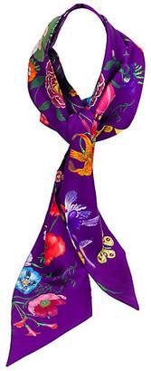 One Kings Lane Vintage Gucci Purple Silk Floral Scarf - Vintage Lux - purple/multi