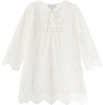 Oscar de la Renta Scallop Floral Eyelet Dress