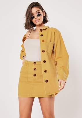 Missguided Tall Mustard Co Ord Button Through Denim Shirt