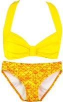 Fin Fin Fin Fun Mermaid Girls Clamshell Bikini Set, Purple Top, Asian Magenta Bottom, X-Large