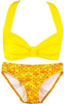 Fin Fin Fin Fun Mermaid Girls Clamshell Bikini Set, Purple Top, Celtic Green Bottom, X-Large
