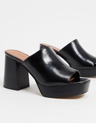 ASOS DESIGN Hypnotise chunky platform mules in black