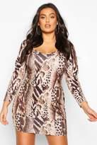 boohoo Plus Leopard Print Puff Sleeve Plunge Bodycon Dress