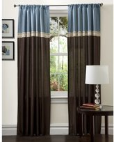 Lush Decor Terra Panels, 108-Inch by 54-Inch, Blue/Chocolate, Set of 2
