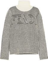 Fendi Striped Knitted Turtleneck Sweater - Black