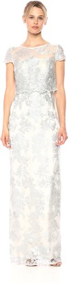 Adrianna Papell Women's Pop Over Metallica Embroidered Lace Dress Gown