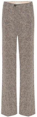 Chloé High-rise wide-leg herringbone pants