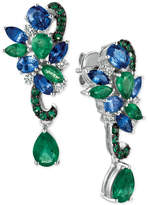 LeVian Le Vian Precious Collection Sapphire (1-9/10 ct. t.w.), Emerald (2-1/10 ct. t.w.) and Diamond (1/5 ct. t.w.) Earrings in 14k White Gold, Only at Macy's