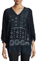Johnny Was Patchwork Eyelet V-Neck Tunic, Navy Shadow