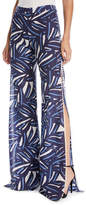 Alexis Levine Slit-Side Wide-Leg Printed Cotton Pants