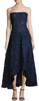 Shoshanna Bates Strapless Floral High-Low Gown, Navy