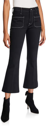 Frame Bardot Crop Flare Jeans w/ Contrast Stitching