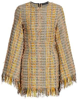 Frederick Anderson Bell-Sleeve Tweed Dress