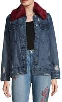 Blank NYC Women's Faux Fur-Trimmed Denim Jacket