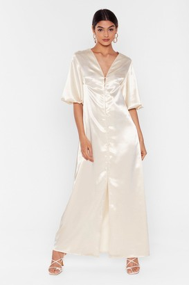 Nasty Gal Womens Ivory Satin Maxi Dress with Slit at Front
