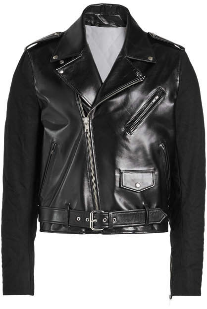 Calvin Klein Perfecto Leather Biker Jacket with Fabric Sleeves