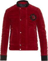 Balmain Badge-embellished velvet bomber jacket