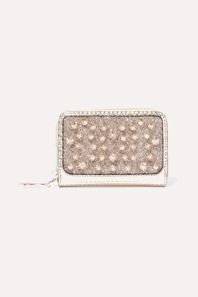 ea337d7450a Panettone Spiked Glittered Metallic Leather Wallet - Silver