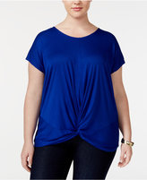 INC International Concepts Plus Size Twist-Front T-Shirt, Created for Macy's
