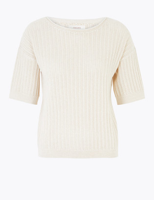 Marks and Spencer Cotton Textured Short Sleeve Jumper