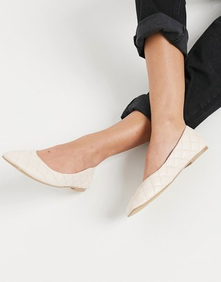 Truffle Collection padded square toe ballet flats in cream