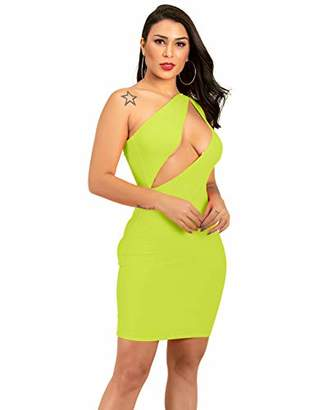 MEALIYA Women's Dress Party Bodycon One Shoulder Night Out Club Dresses Sexy
