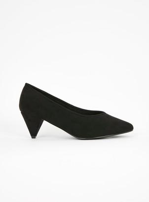 Evans WIDE FIT Black Cone Heel Court Shoes