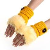 Changeshopping Women Warm Winter Faux Rabbit Fur Wrist Fingerless Gloves Mittens