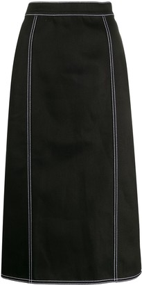 Alexander McQueen Contrast Stitching Pleated Skirt
