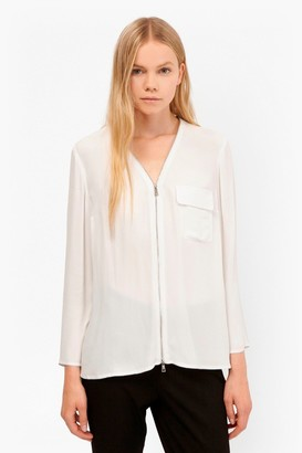 French Connection Belle Crepe Zip Up Blouse