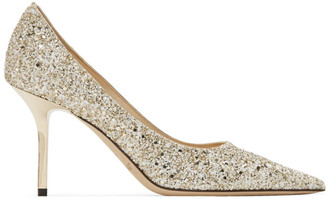 Jimmy Choo Gold and White Coarse Glitter Love 85 Heels