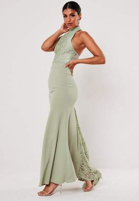 Missguided Petite Bridesmaid Green Lace Halterneck Fishtail Maxi Dress