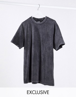 Reclaimed Vintage inspired oversized t-shirt dress in washed charcoal