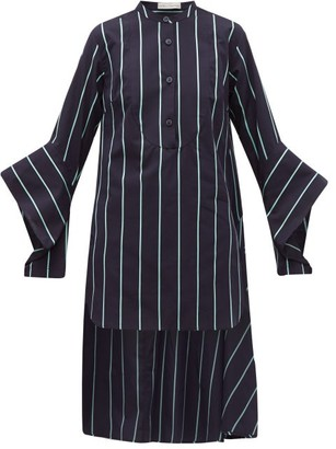 Palmer Harding Palmer//Harding Palmer//harding - Echo Open Cuff Striped Cotton Shirt - Womens - Blue
