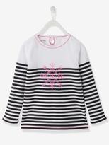 Vertbaudet Girls Pretty Sailor-Style T-Shirt