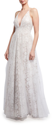 Aidan Mattox Plunging Floral Embroidered Mesh Covered Ball Gown