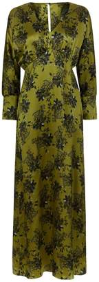 Phoebe Grace Sally V Neck Large Cuff Midaxi Dress in Lime Flower Print