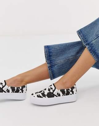 Asos Design DESIGN Deacon chunky slip on plimsolls in cow print-Multi