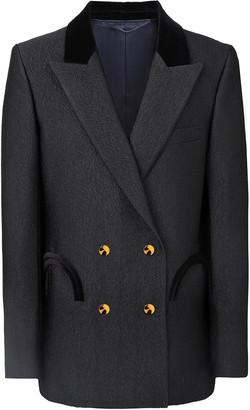 BLAZÉ MILANO Starlight Everynight Velvet-Trimmed Woven Blazer Jacket