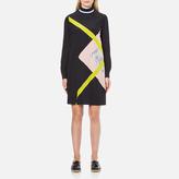 MSGM Women's High Neck Long Sleeve Dress with Contrast Diamond Print Black