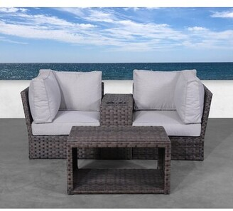 Cochran 4 Piece Rattan Seating Group with Cushions Rosecliff Heights