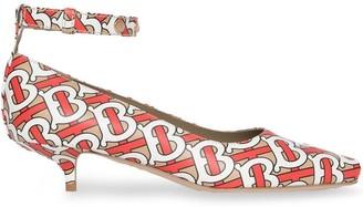 Burberry Monogram Print Leather Peep-toe Kitten-heel Pumps